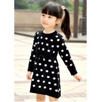 Quality Polka Dots Jacquard Knit Little Girls Winter Dresses Full Sleeve 4 Year Old Girl Clothes wholesale