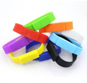 Quality Silicone Wristband Pvc Flash Drive  Bracelet USB Disk Pen Drive  Red / Blue Color wholesale