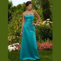 Quality Bridesmaid Dress/Strapless A-line Satin Gown with Asymmetrical Wrap at Waist, Lace-up Back wholesale