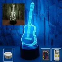 Quality 3D led guitar night light seven-color touch visual light creative gift atmosphere small table lamp wholesale