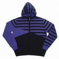 China Men's multiple stripe and blocks hooded sweater/cardigan on sale