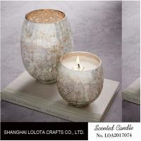 Quality Silver Shimmer Elliptical Scented Handmade Jar Candles Ball Shaped For Bedroom wholesale