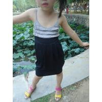 Quality Classy Summer Lovely Girls Pleated Dress , Black Girls Spaghetti Strap Dress wholesale