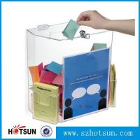 Quality Innovative Wall Mount Donation Box with Lock and Key, Clear Acrylic Charity Box Donation wholesale