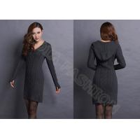Quality V Neck Cable Knitted Ladies Sweater Dresses With Hood , Narrow Waist Womens Sweater wholesale