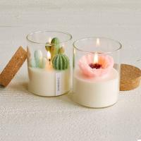 Quality Custom Artificial Plant Non Toxic Scented Candles Soy Based Candles With Wooden Lid wholesale
