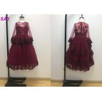 Quality Blossom Inspired Wine Red Childrens Flower Girl Dresses With Long SleeveS Beaded wholesale