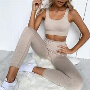 China Eco Friendly Workout Clothes Women Sports Bra and Leggings Set Gym Clothing Athletic Yoga Set on sale