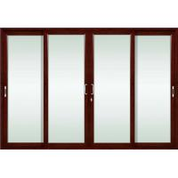 Quality 2.0mm profile thickness red sandalwood aluminum sliding glass doors with sound insulation wholesale