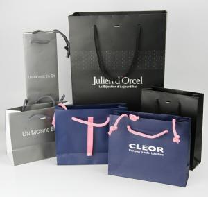 China Beautiful Kraft Paper Gift Bags CMYK / PMS Printing Matt Lamination on sale
