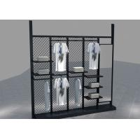 Cheap Environmental Metal Material Metal Black Clothing Rack For Garment Mall Displaying for sale
