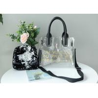 China Transparent PVC Tote Bag Fashionable , Small Black Sequin Bag For Women Shopping on sale
