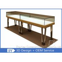 Quality Modern Gold Stain Steel Commercial Jewelry Display Cases With Led wholesale