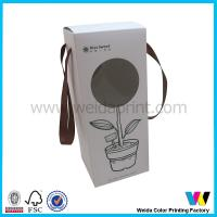 Quality Round Cut Window on Front Paper Packaging Boxes with Brown Ribbon Handle for sale