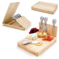 Quality 4pcs cheese tools with cutting board, wood case, wood cheese board sets wholesale