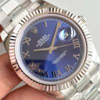 Quality Wholesale 2016 Rolex 116334 DateJust II 41mm Automatic 3136 Blue Dial Roma Marks Fluted Bezel Watch wholesale