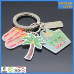 Quality Enamel with epoxy metal slipper coconut palm tree Hawaii beach key holder wholesale