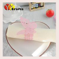 China Pink butterfly wedding napkin rings for hotel , Butterfly Paper Napkins on sale