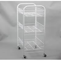 China Basket Trolley Powder Coated Shelving , White Coated Wire Shelving With Scroll Design on sale