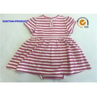 Cheap Short Sleeve Newborn Baby Girl Dresses , 100% Cotton Baby Girl Striped Dress for sale