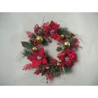 Quality Red Fabric / Plastic Front Door Artificial Decorative Flowers for Christmas Garlands wholesale