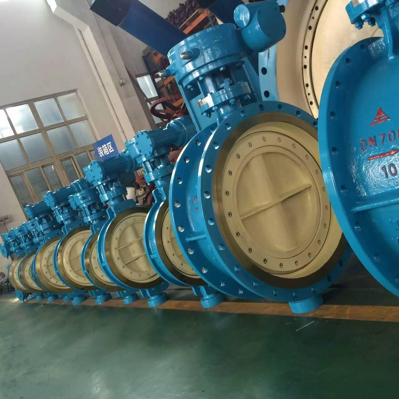 Quality DN700 Blue Pneumatic Butterfly Valve / Double Butterfly Valve WCB Material PN 10 wholesale
