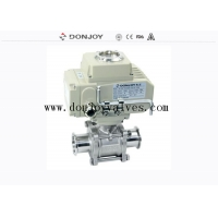 China FDA Pneumatic Clamped DN100 SS316L Three Piece Ball Valve on sale