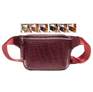 China Classical Crocodile Parrent Waist Packs Fashion Leather Italian Alligator Sheepskin Bum Bag Women Fashion Waist Bag on sale
