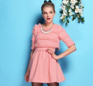 Quality Autumn & Winter New European Style Waist Wool Women woolen Knit Dress False Two Pleated Skirt Orange Pink wholesale