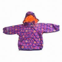 Quality Children's Raincoat with PU Fabric, All Over print and Fleece Lining wholesale