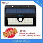 Quality 20LED 440lumens 4W motion sensor solar wall light with mounting bracket triangular shape Li-ion battery solar lamp wholesale