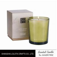 Quality Handmade Scented Soy Candles , Long Lasting Scented Candles In Green Clear Bottle wholesale