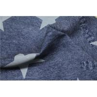 China Blue Ripped Jeans Printed PU Leather With Five Stars 0.6mm For Jacket on sale