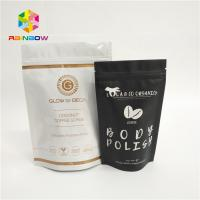 Quality palstic zipper laminated coffee bags plain white stand up pouch with ziplock tear notches packaging for 500g 1kg 3kg wholesale