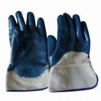Quality Safety gloves, blue nitrile-coated, safety cuffs, jersey lining, open back for housework wholesale