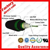 China Outdoor Underground Direct-buried fibre optic cable gyxts53 unitube armored optical cables with Black PE PSP sheath on sale