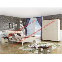 Quality Mediterranean Style Apartment home use bedroom furniture by wood bed in white Beach panel and Brown rubber headboard wholesale