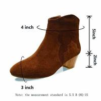 Quality Women Shoes Ankle Boots Suede Leather Low Heels Black/Brown wholesale