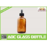 Quality 2OZ Amber Boston Round Flat Glass Cough Syrup Bottle wholesale
