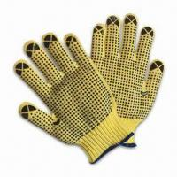 Quality Kevlar Safety Gloves with Both Sides PVC Dots on Palm, Cut-resistant and Anti-skid for Working Use wholesale