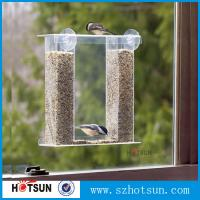 Cheap Wholesale acrylic window bird feeder with drain holes, removable tray and water for sale