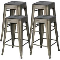 China 24 Inch Stackable Restaurant Chairs Metal Bar Stools Counter Height Barstools High Backless on sale