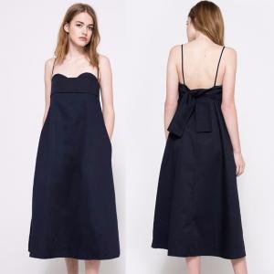 China Best Quality Plus Size Navy Blue Midi Elegant Lady Dress on sale