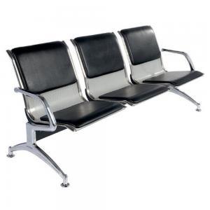 Quality Black Color Hospital Waiting Area Chairs Pu Cushion Herringbone Stand wholesale