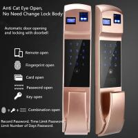 Quality Automatic Mute Fingerprint Recognition Door Lock With Cat Eye & Doorbell wholesale