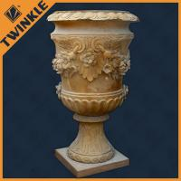 Quality Outdoor yellow marble stone flower pots customized carving garden decoration wholesale