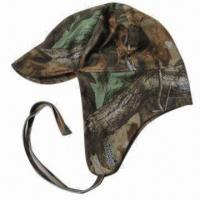 China Trapper hat with tie on ear-lap bottom and camouflage design on sale