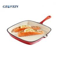 China Wholesale Cast iron square enamel grill pan on sale