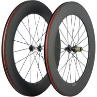 88mm Carbon Tubular Road Bike Clincher , 23mm 3K / UD Bicycle Front Rear Wheel