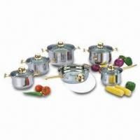 Quality 12-Piece Cookware Set with Gold-plated Handle and Glass Lid, Made of Stainless Steel wholesale